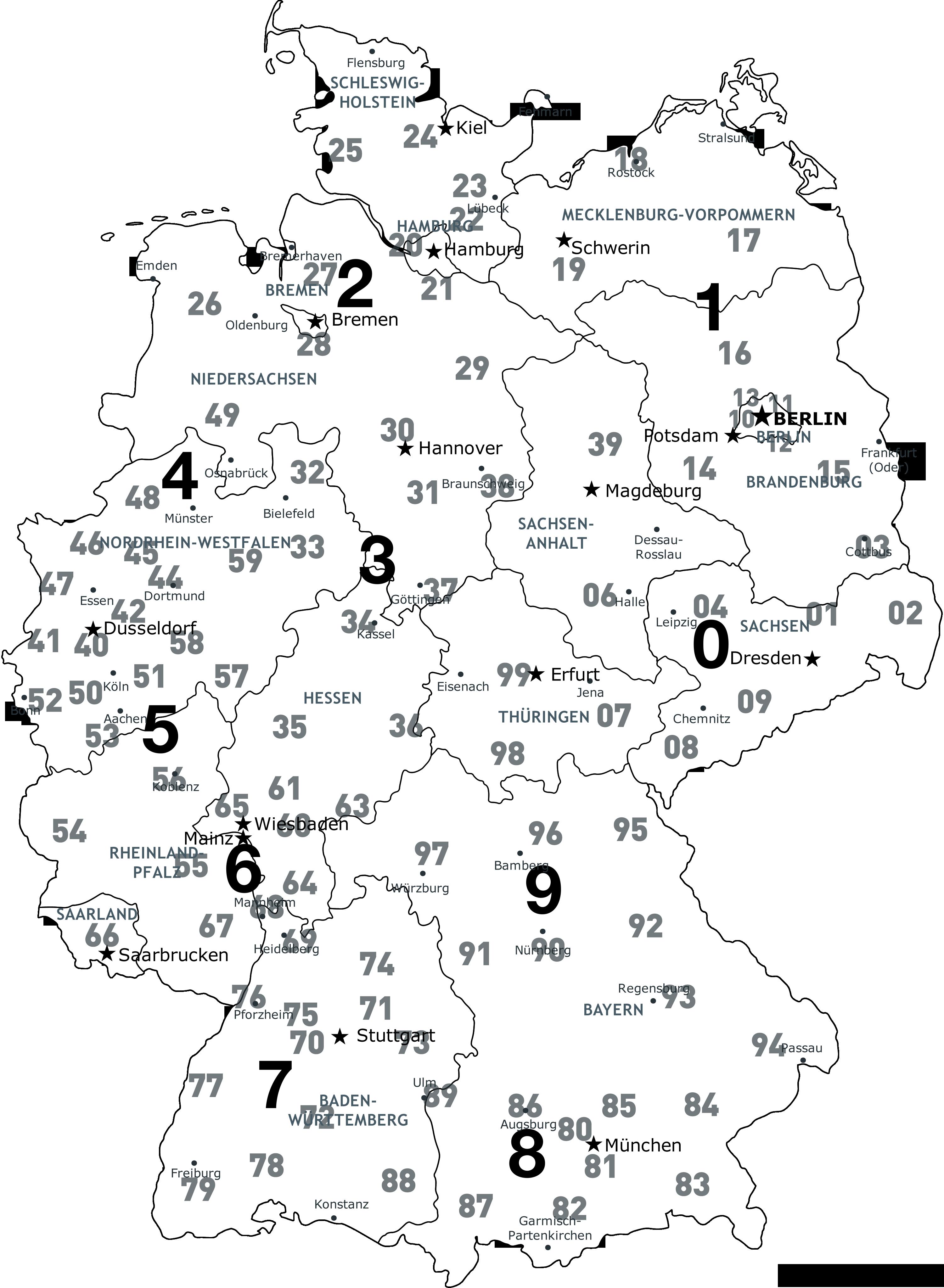 Plz Karte Deutschland Kostenlos Download.Postleitzahlenkarte Deutschland