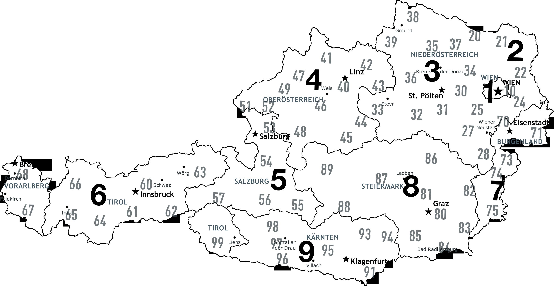 Schweiz Karte Schwarz Weiss.Postleitzahlenkarte Osterreich