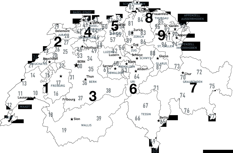 Plz Karte Schweiz.Postleitzahlenkarte Schweiz